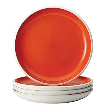 Rachael Ray Dinnerware Rise Collection 4-Piece Stoneware Dinner Plate Set, Orange