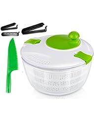 OLIVIA & AIDEN Salad Spinner Set - Includes Salad Spinner With Colander and Dishwasher Safe Bowl, Plastic Serrated Lettuce Knife, and 3 Airtight Bag Clips - Salad Prep Set