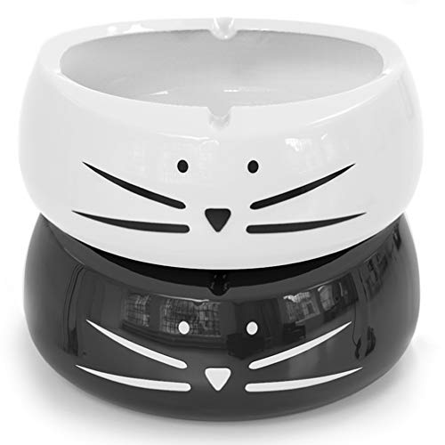 Koolkatkoo Cute Cat Cigarette Ashtray Indoor or Outdoor Use Ceramic Ash Holder for Smokers Girls Women, Decorative Ashtrays for Home Office Cat Lover Ash Tray Black and White