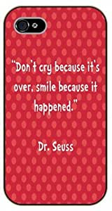 For SamSung Galaxy S5 Case Cover Don't cry because it's over, smile because it happened. Dr. Seuss, black plastic case / Inspirational and motivational life quotes / AUTHENTIC