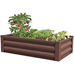 "Greenes Fence Powder-Coated Metal Raised Garden Bed Planter 24"" W x 48"" L x 12"" H"