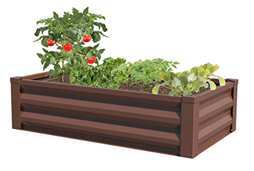 - Greenes Fence Powder-Coated Metal Raised Garden Bed Planter 24