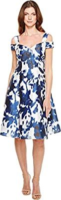 Adrianna Papell Women's Irridescent Faille Fit and Flare Dress
