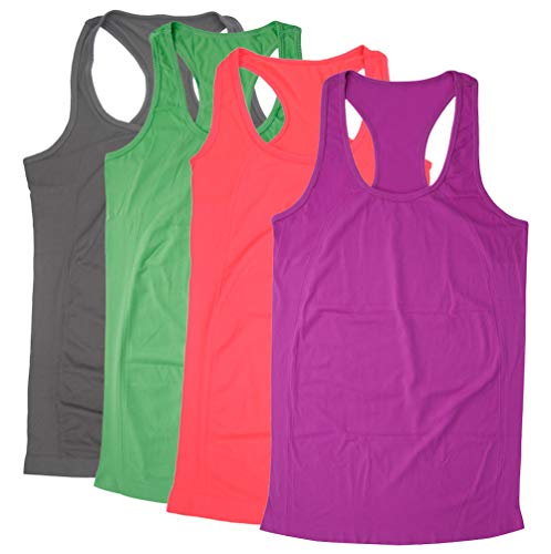 (BollyQueena Womens Yoga Tops, Women's Work Camisole for Women Yoga Tank Racerback 4 Packs Multicoloured L)