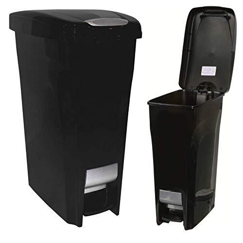(BS Slim Trash Can 43 Liter Kitchen Waste Basket Step Rectangular Garbage Dispenser Plastic Portable Rustproof Kitchen Garage Indoor Waste Management Fits Narrow Spaces (Set of 2) & eBook by BADA Shop)