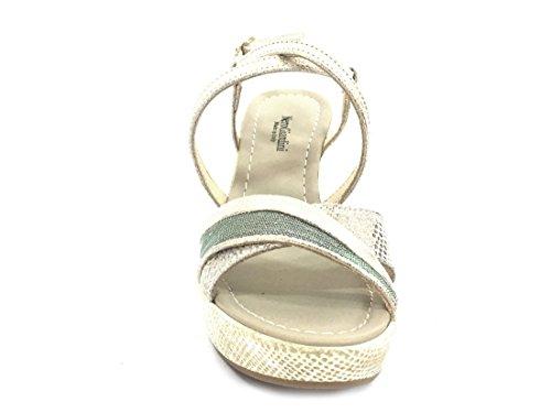 17622 PLATINO Scarpa donna sandalo zeppa Nero Giardini pelle made in italy