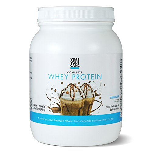 Yes You Can! Complete Whey Protein, a Nutritious Snack Between Meals, 15 Grams of Protein, Helps Lose Weight and Build Muscle, Batidos de Proteína Completo para Bajar de Peso - 1.65 Lb, Cappuccino ()