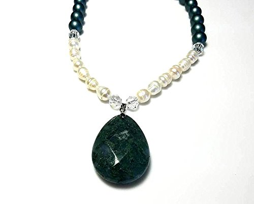 Faceted Swarovski Crystal Satin (Satin Dark Green Czech Druk Beads Green Stone Pendant Necklace with White Freshwater Pearls and Clear Swarovski Crystals Extra Long Statement Jewelry)