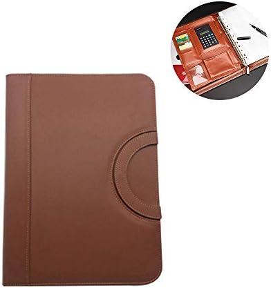 WZJN A4 Multifunktions-Dokumentenmappe Leder mit Reißverschluss, Aufbewahrungstasche Student Office Ablageprodukt mit Solarrechner,Braun