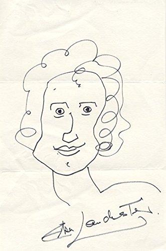 Elsa Lanchester – Self-caricature Signed