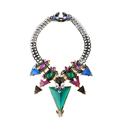 [Miraculous Garden Black Statement Crystal Necklaces for Women Chunky Jewelry] (Costume Design Concept Statement)