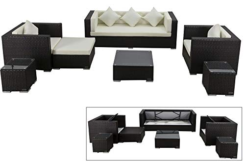 OUTFLEXX Exklusives XL Lounge-Set aus hochwertigem Polyrattan in braun, 3-Sitzersofa, 2 Sessel, 1 Hocker, inkl. Kissenpolster, 2 kleine Beistelltische, 1 Kaffeetisch, Kissenboxfunktion, wetterfest