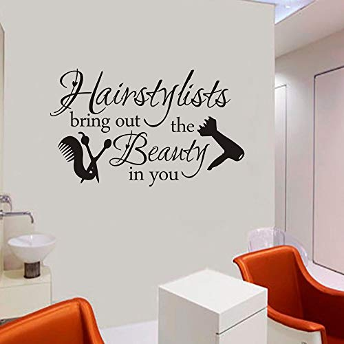 FlyWallD Hair Salon Decal Hairstylist Quotes Wall Sticker Vinyl Art Window Barbershop Decor]()