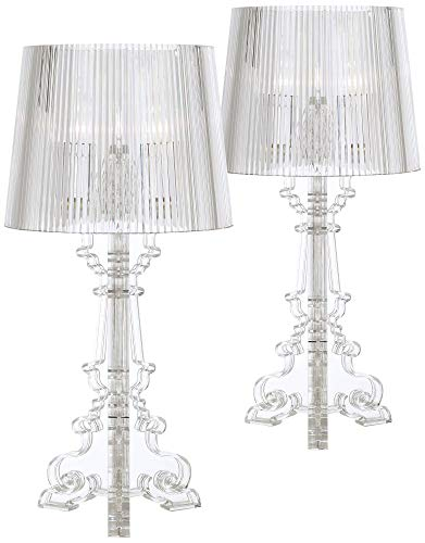 - Baroque Accent Table Lamps Set of 2 Clear Acrylic See Through for Living Room Family Bedroom Bedside Nightstand - 360 Lighting