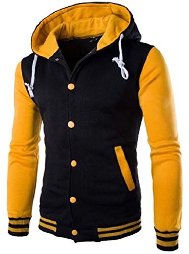Quilted Yellow Leisure Hooded Color Howme Button Contrast Coat Jacket Up Men Jacket PqwXgxH1z