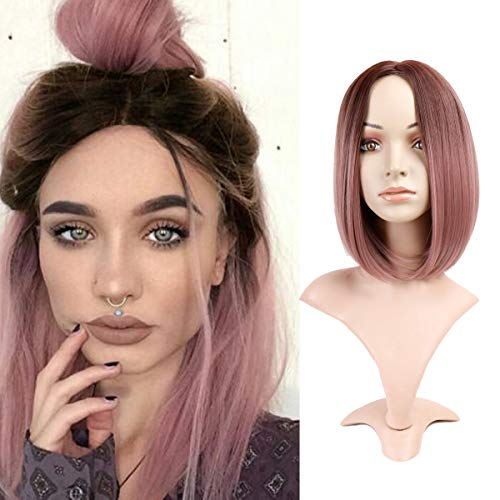 Queentas Ombre Ash Pink Wig Short Bob Straight Middle Part Shoulder Length Synthetic Hair Wig Cosplay Party for Women with Wig Cap(12inch Ombre Black to -