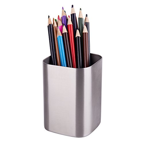 IMEEA Pen Pencil Holder Makeup Brush Holder 1.2mm Thick Heavy Duty SUS304 Brushed Stainless Steel - Chrome Pencil Holder