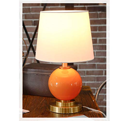 CO-Z Modern Bedside Lamp, 16.50 Inch Mid-Century Inspired Table Lamp with White Fabric Shade, Contemporary Bedroom Nightstand Lamp with Orange Glass Ball Base in Antique Brass Finish