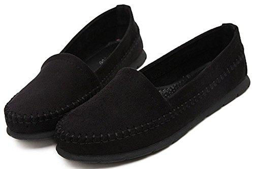 Comfortabele Dames Ronde Neus Gesloten Schoenen Dames Comfortabele Lage Slip Op Werk Loafers Zwart