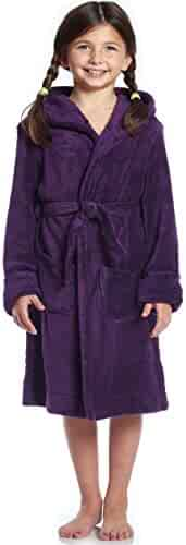 Leveret Kids Robe Boys Girls Solid Hooded Fleece Sleep Robe Bathrobe (2 Toddler-14 Years) Variety of Colors