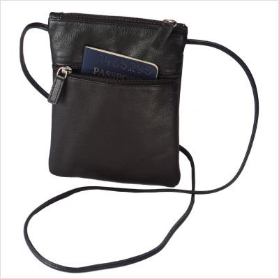 Harness Cowhide Leather Mini-Tote/Passport Holder Color: Black