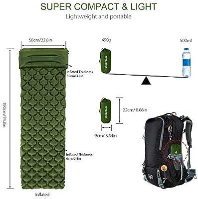 TOMSHOO Colchón Inflable Ultraligero de Colchón de Sueño con la Almohada para el Camping de Plein Air como de la Senderismo Mochila de Viaje
