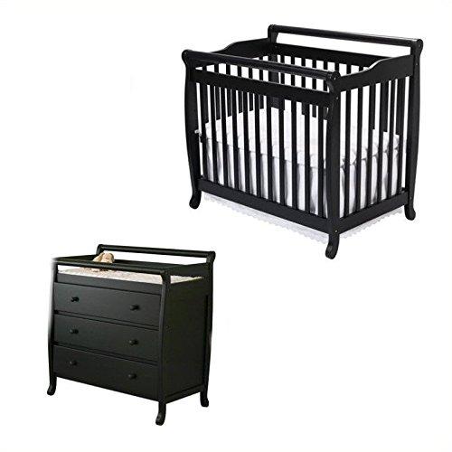 DaVinci Emily Mini 2-in-1 Convertible Wood Baby Crib Set With Changing Table in Ebony (Da Vinci Crescent Mini)