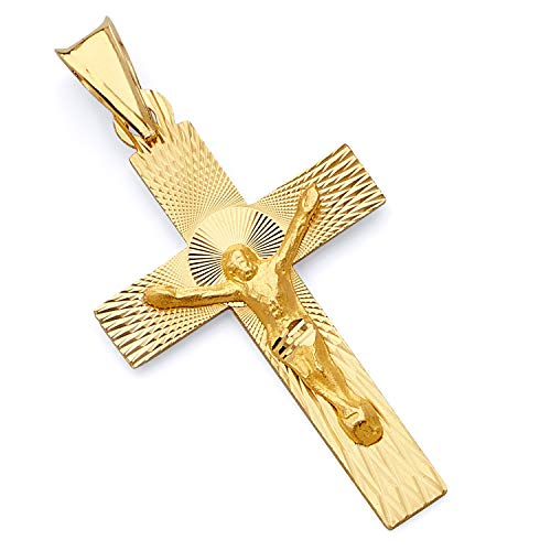 - Wellingsale 14K Yellow Gold Diamond Cut Polished Religious Catholic Latin Crucifix Charm Pendant