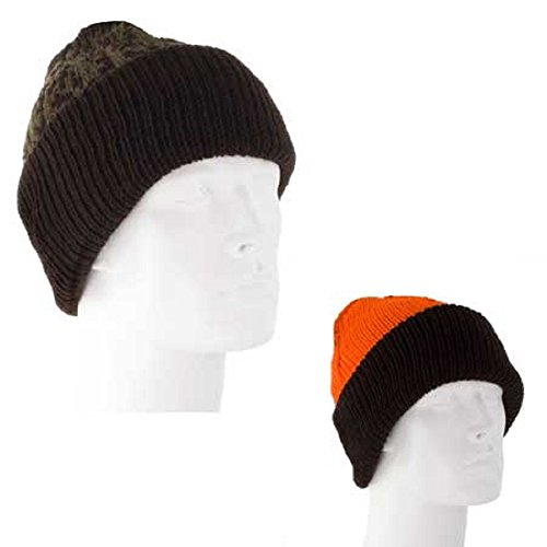 (Reversible Brown Green Camo Hunter Blaze Orange Made in USA Military Watch Cap Stocking Hat Beanie)