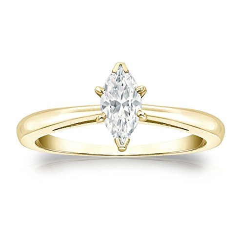 14k White Gold Plated V-End Prong Marquise Simulated Diamond Solitaire Ring 0.50 ct