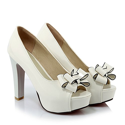 Pumps Womens White Shoes with Bowknot Toe Lucksender Heel Platform High Peep YqqxgdS