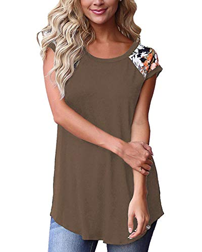 Juniors Tshirts Round Neck Cute Casual Tops for Work Womens Tunic Leggings Light Coffee S