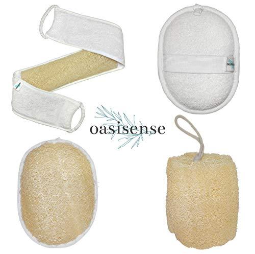 Natural Loofah Set - Body Back Scrubber, Exfoliating Luffa Pads, Large Oragnic Luffa Sponge (Set of 4 Inside Cute Cotton Bag)