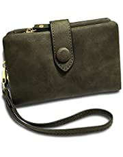 RFID Leather Wallets for Women Ladies Wristlet Clutch Large Capacity Zipper Purse for Coins Card Holder Organizer