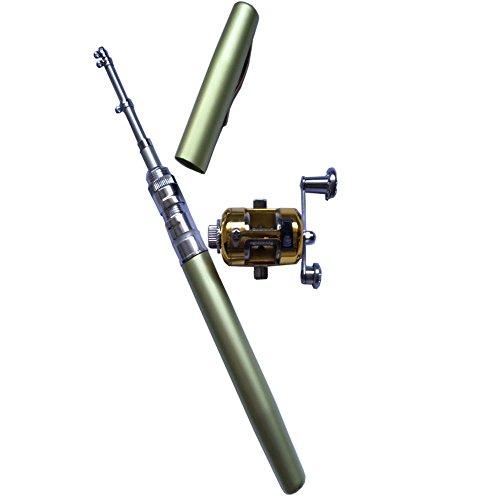V-blue Mini Fishing Tackle Green Pocket Fish Pen Rod Pole and Reel Combos Wheel Tools Great Gift
