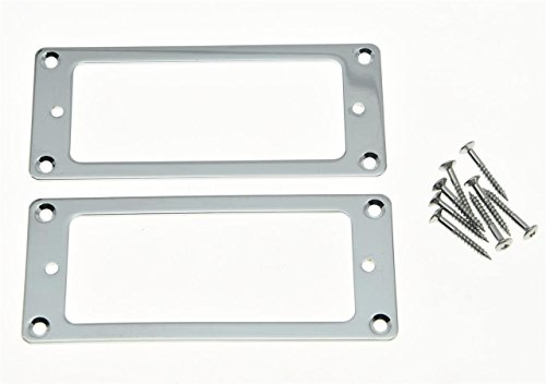KAISH 2pcs Metal Chrome Mini Humbucker Pickup Mounting Rings Flat Base Mini Pickup Frame