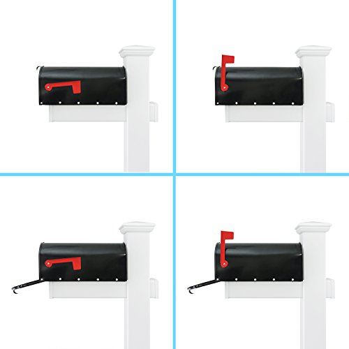 Houseables Mailbox Post Kit System, Mail Box Included, Combo White & Black, 72'' x 4'', Vinyl PVC Plastic Post & Mounting Arm, Aluminum Mailboxes, Steel Anchor, Rust Proof, For Home, Residence, Curbside by Houseables (Image #2)