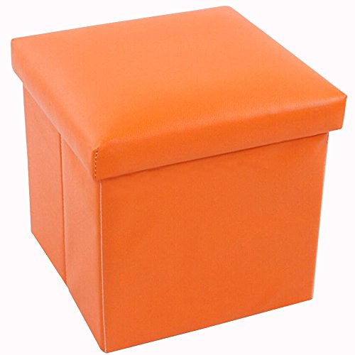 Geartist Goo1 Leather Folding Organizer Storage Ottoman Bench Footrest Stool Coffee Table Cube