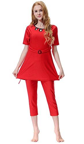 Rosso beachwear islamico Costume Tre da pezzi bagno Donne musulmano GladThink qBCwn6U