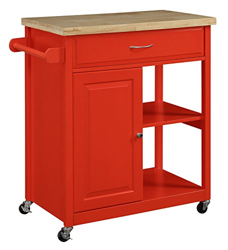 Oliver and Smith – Nashville Collection – Mobile Kitchen Island Cart on Wheels – Red – Natural Oak Butcher Block – 30″ W x 18″ L x 36″ H