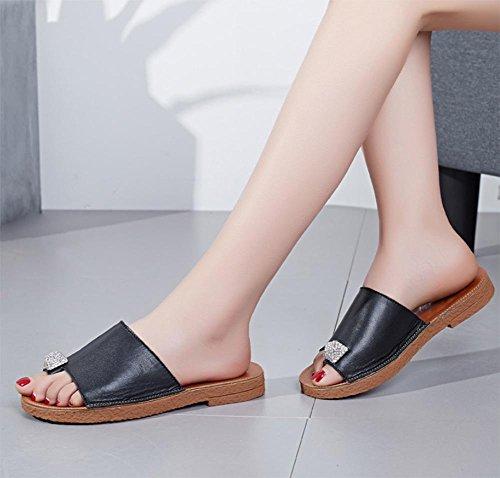 Frau von Crystal Sommer Sandalen weibliche Sandalen mit weichen Sohlen Sandalen und Pantoffeln Toe Damen Black