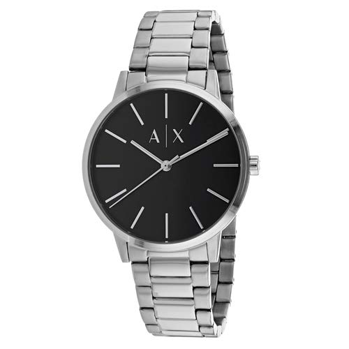 Armani Exchange Men's Cayde Analog-Quartz Watch with Stainless-Steel Strap, Silver, 20 (Model: ()