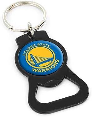 aminco NBA Golden State Warriors Domed Logo Black Bottle Opener Key Ring