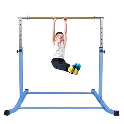 gymmatsdirect Gymnastics Junior Training Bar Pro Height Adjustable Horizontal Kip Bar for Kids Home Practice