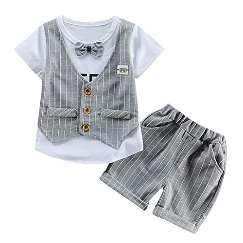 FEITONG BabyOutfit, Toddler Baby Kids Boys Bow Vest T Shirt Tops Plaid Shorts Set Outfits Clothes Gray