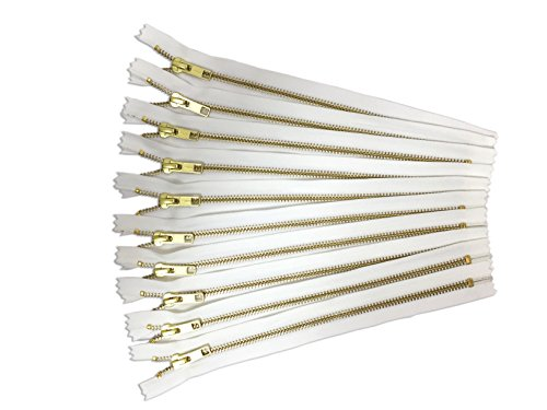 gold metal zippers - pack of 10 white YKK zippers - 10 inch zippers