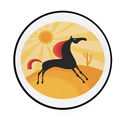 36.2″ Home Decor Ultra Soft Round Non-Slip Bath Mat or Rug Place in Front of Shower,Vanity,Bath Tub,Sink & Toilet, Abstract Animal Figure Running in The Desert Hot Summer Nature Landscape at Noon