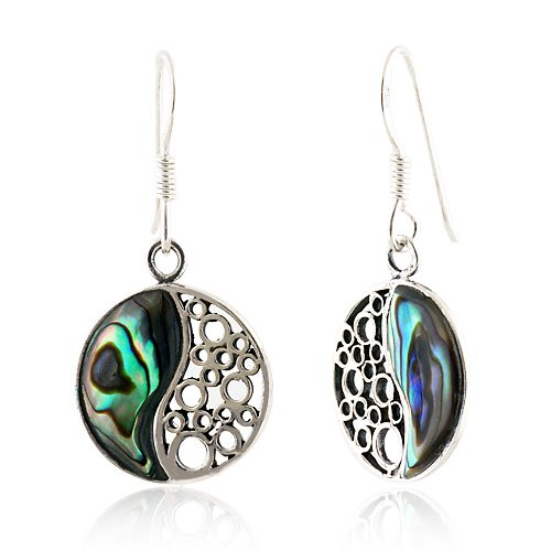 925 Sterling Silver Natural Inlay Yin Yang Dangle Hook Earrings