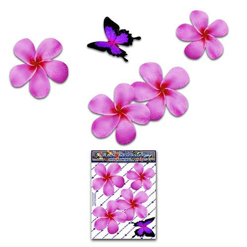 (FLOWER Frangipani Plumeria Small Pink Double + BUTTERFLY Animal Pack Car Stickers - ST00024PK_SML - JAS Stickers)