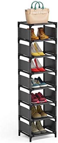 8 Tiers Vertical Shoe Rack , Narrow Shoe Shelf Space Saving Shoe Organizer for Entryway Door